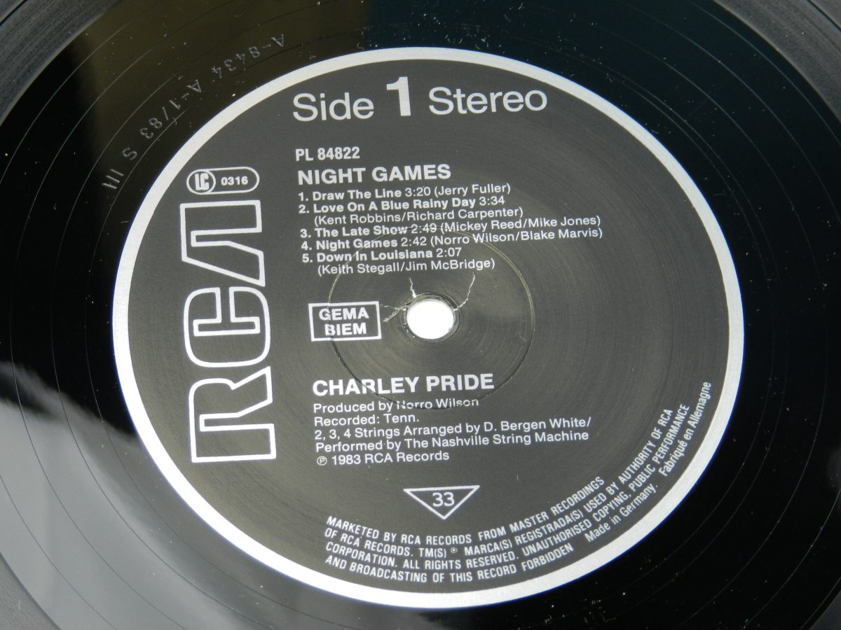 Charley Pride – Night Games vinyl record side A label scaled