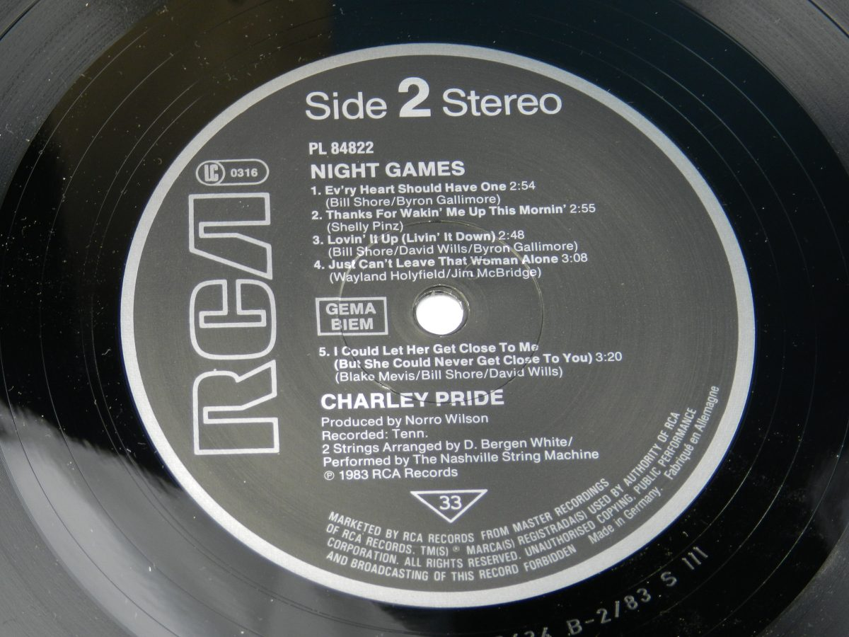 Charley Pride – Night Games vinyl record side B label scaled