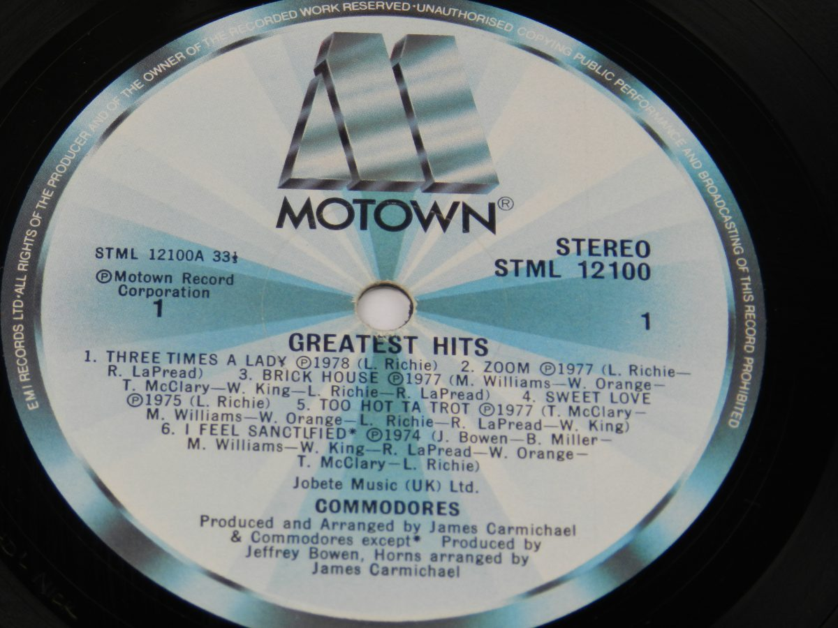 Commodores – Greatest Hits vinyl record side A label scaled