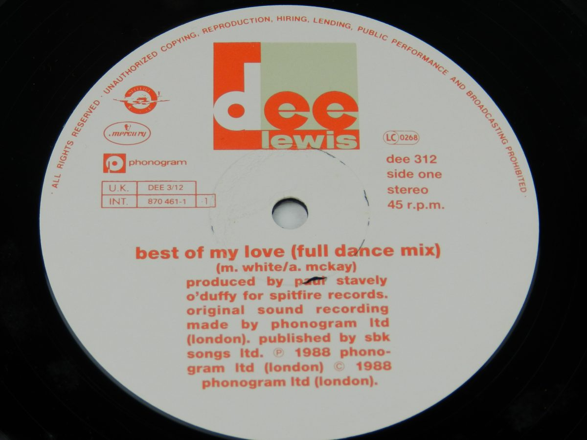 Dee Lewis – The Best Of My Love vinyl record side A label scaled