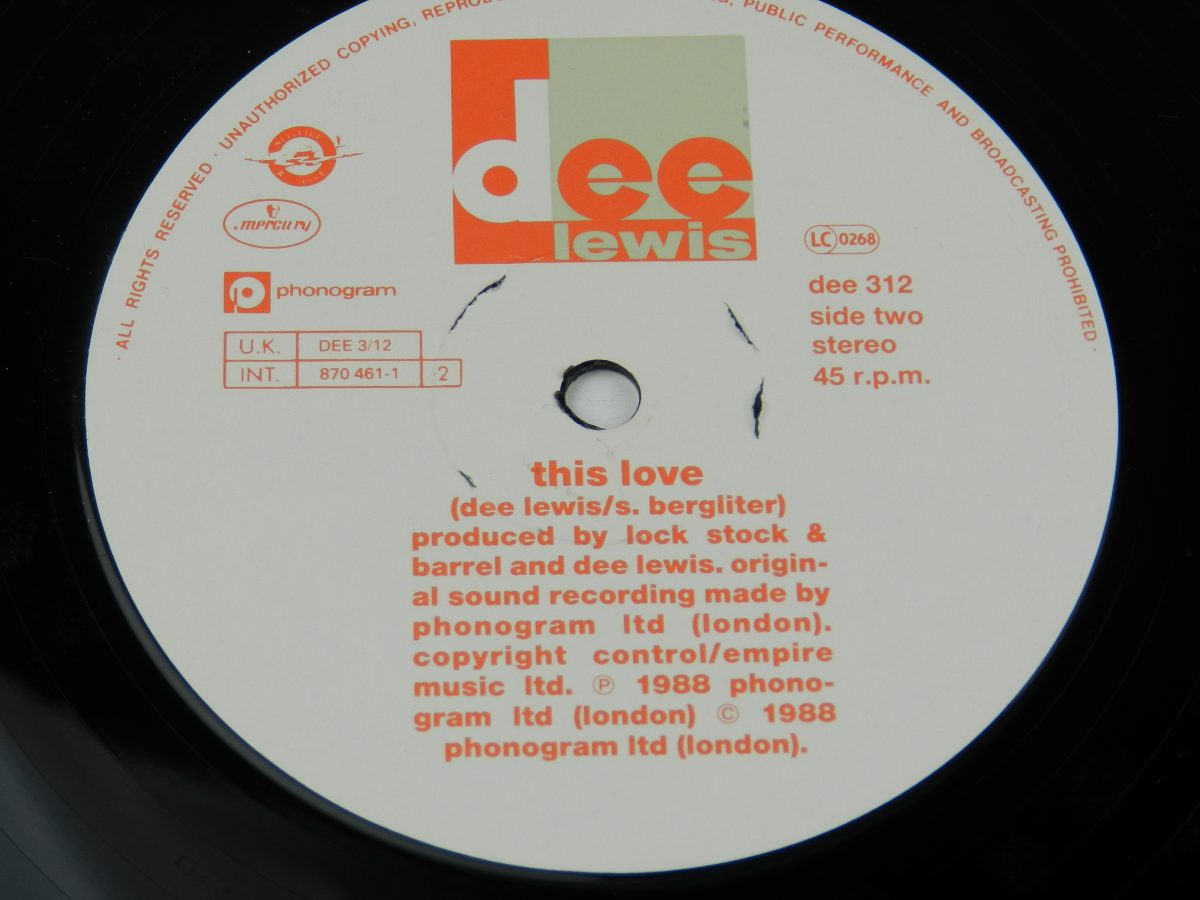 Dee Lewis – The Best Of My Love vinyl record side B label scaled