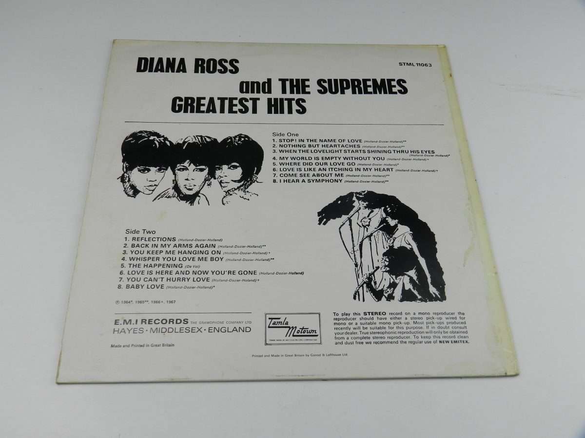 Diana Ross And The Supremes – Greatest Hits vinyl record sleeve rear scaled