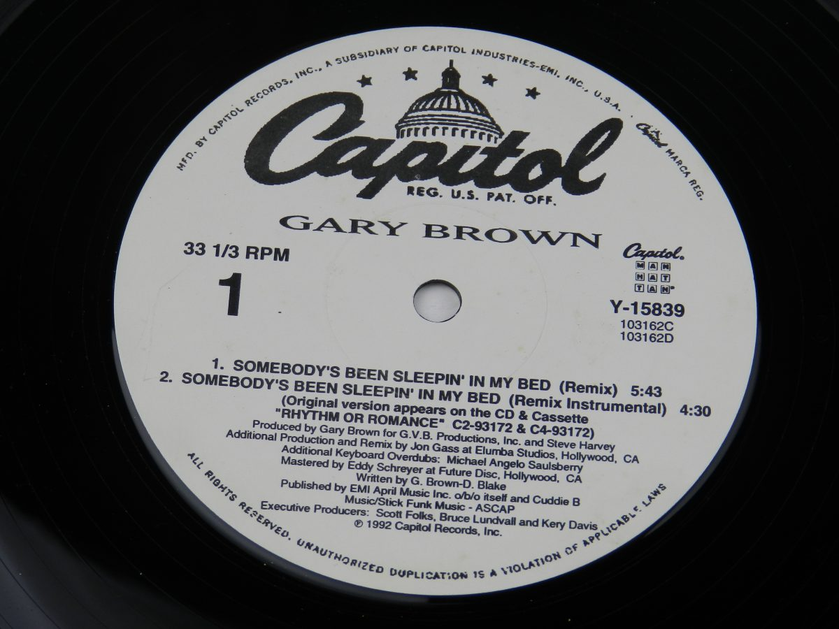 Gary Brown – Somebodys Been Sleepin In My Bed vinyl record side A label scaled