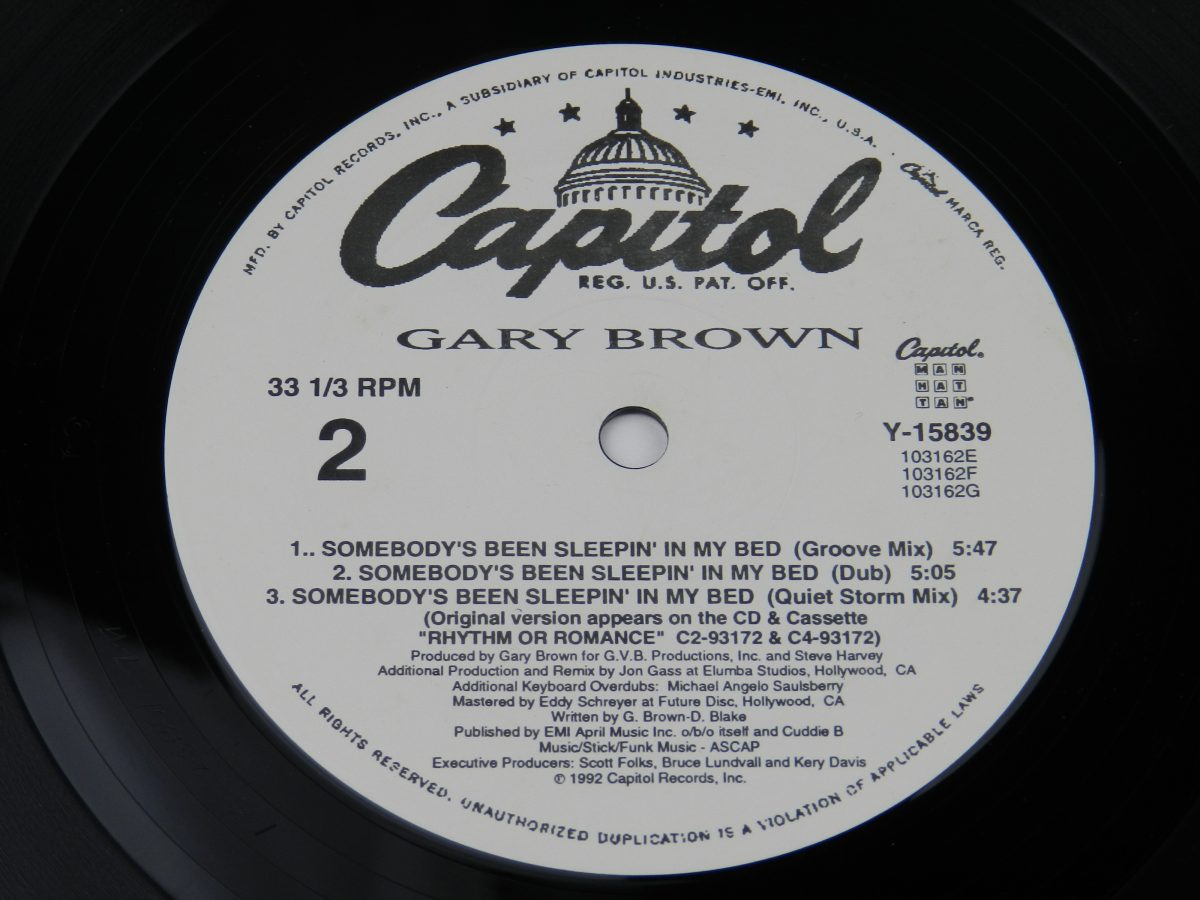 Gary Brown – Somebodys Been Sleepin In My Bed vinyl record side B label scaled