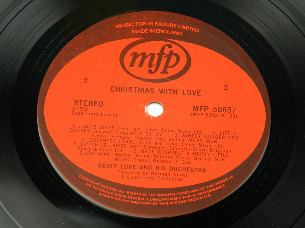 Geoff Love And His Orchestra – Christmas With Love vinyl record side B label scaled