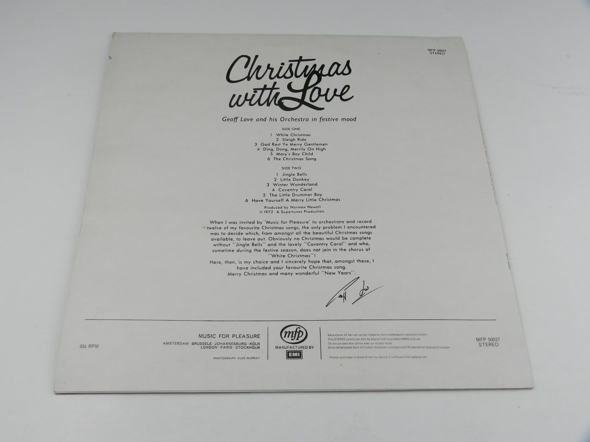 Geoff Love And His Orchestra – Christmas With Love vinyl record sleeve rear scaled
