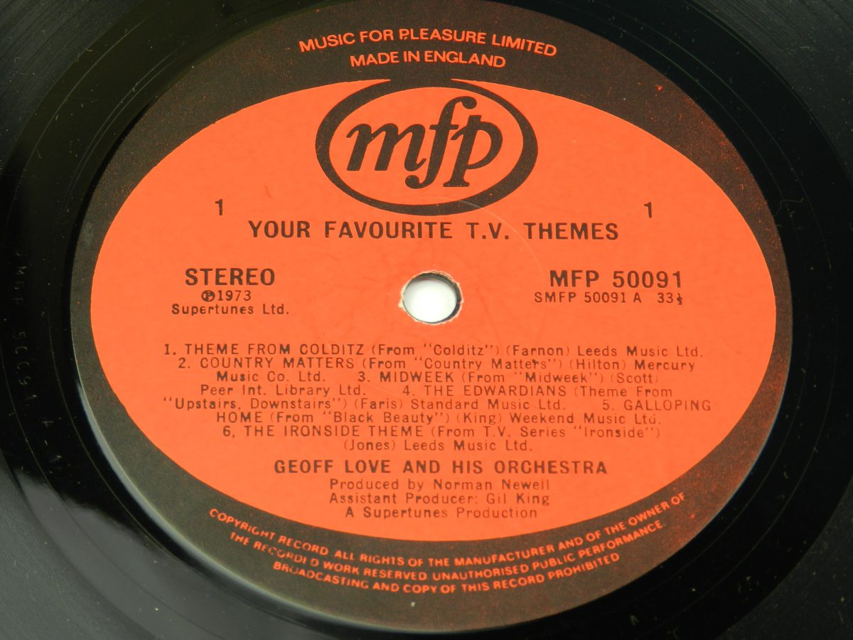 Geoff Love His Orchestra – Your Favourite T.V. Themes vinyl record side A label scaled