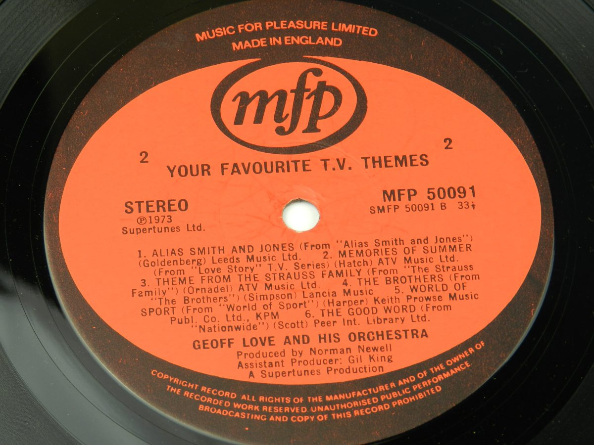 Geoff Love His Orchestra – Your Favourite T.V. Themes vinyl record side B label scaled