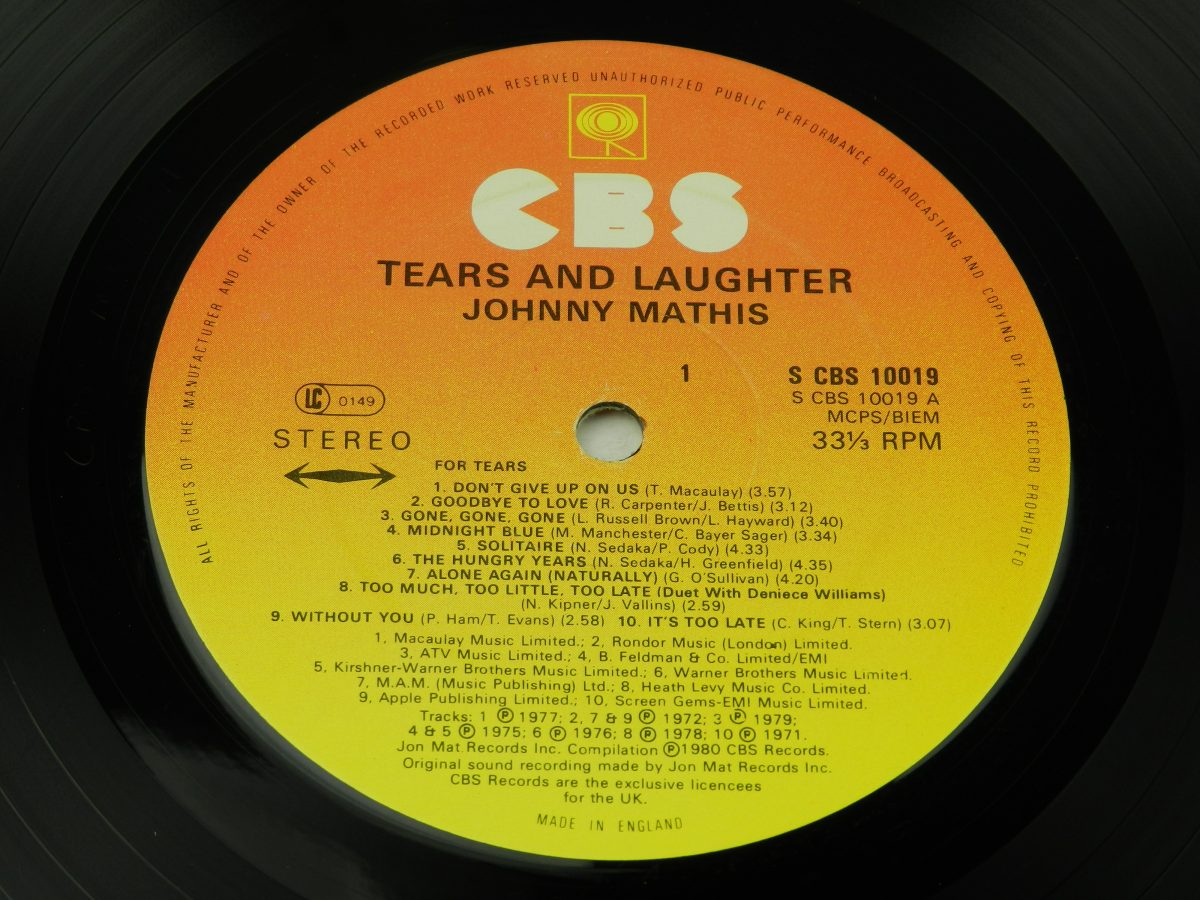 Johnny Mathis – Tears And Laughter vinyl record side A label scaled
