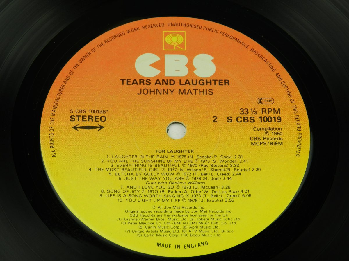 Johnny Mathis – Tears And Laughter vinyl record side B label scaled