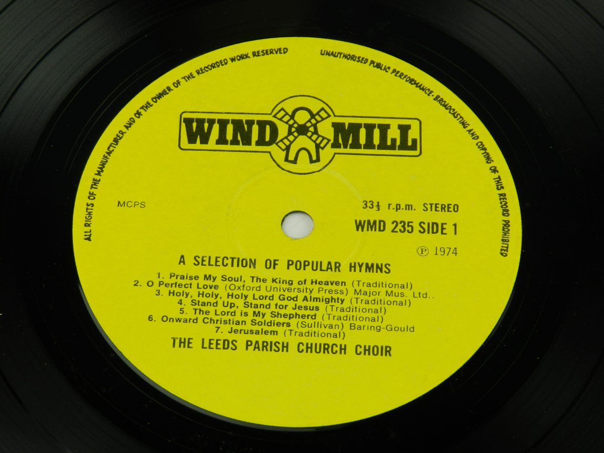 Leeds Parish Church Choir – A Selection Of Popular Hymns vinyl record side A label scaled