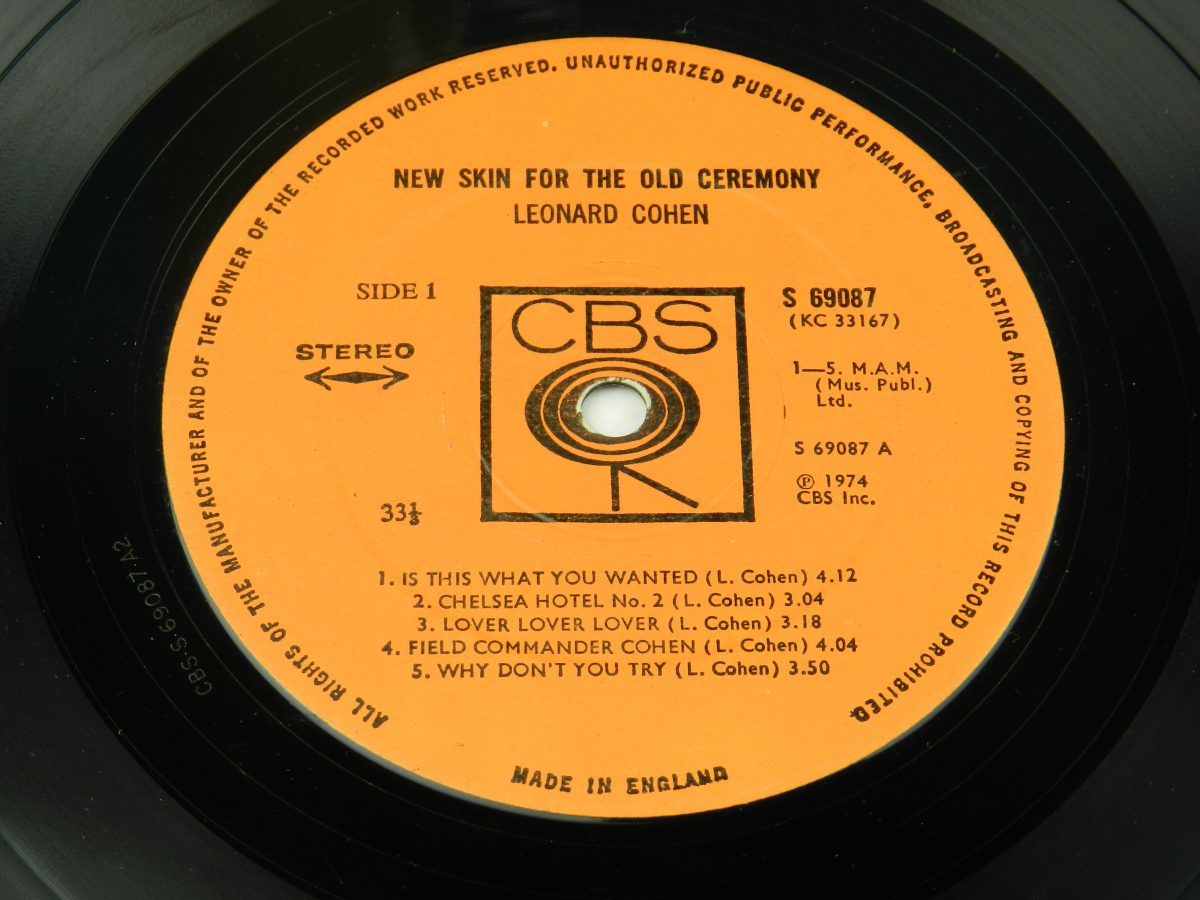 Leonard Cohen – New Skin For The Old Ceremony vinyl record side A label scaled