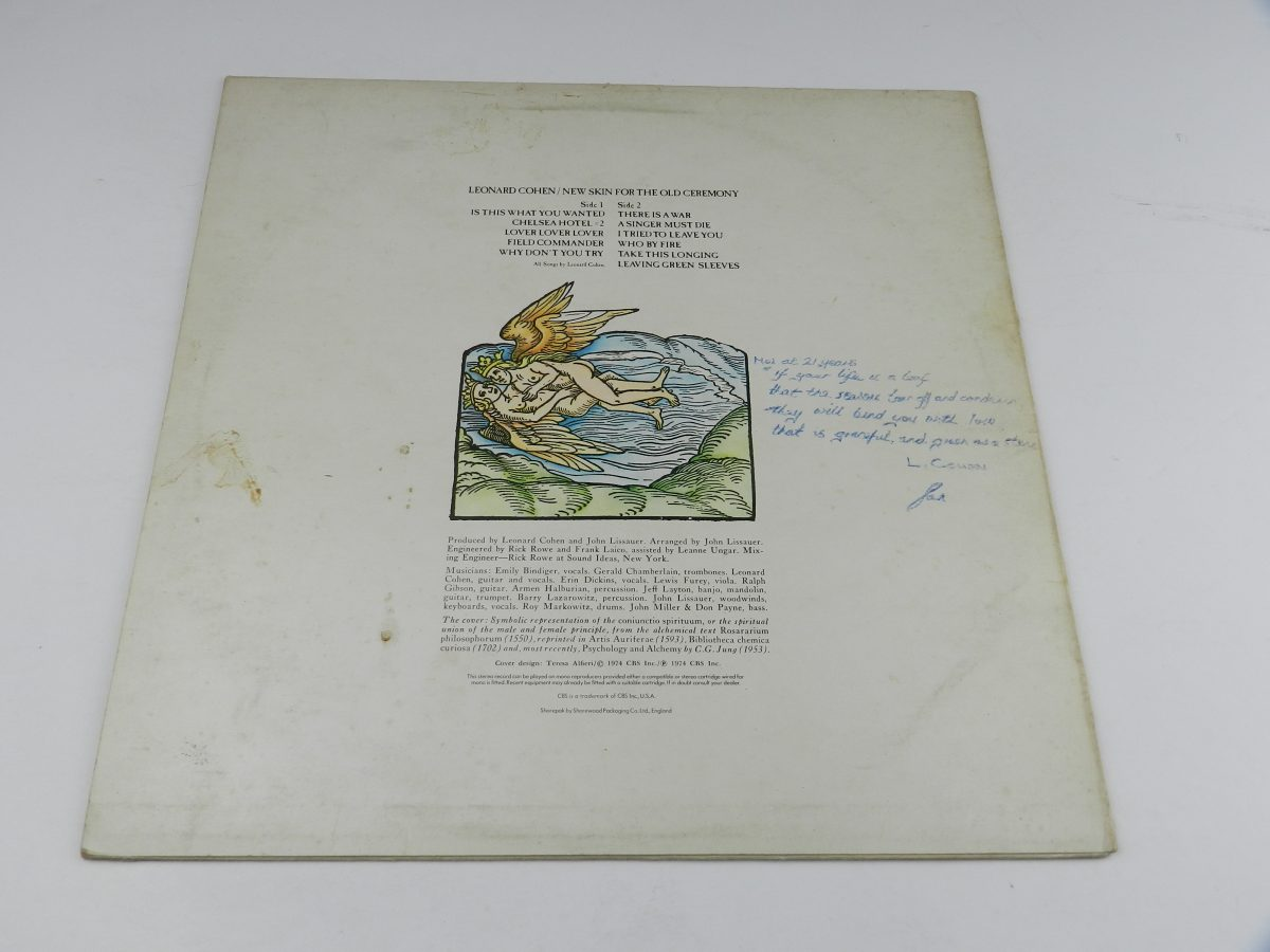 Leonard Cohen – New Skin For The Old Ceremony vinyl record sleeve rear scaled
