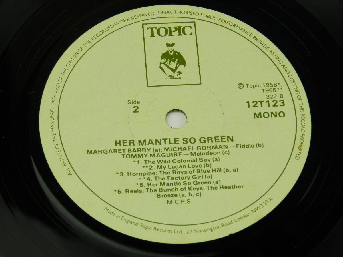 Margaret Barry Michael Gorman – Her Mantle So Green Irish Street Songs And Fiddle Tunes vinyl record side B label scaled
