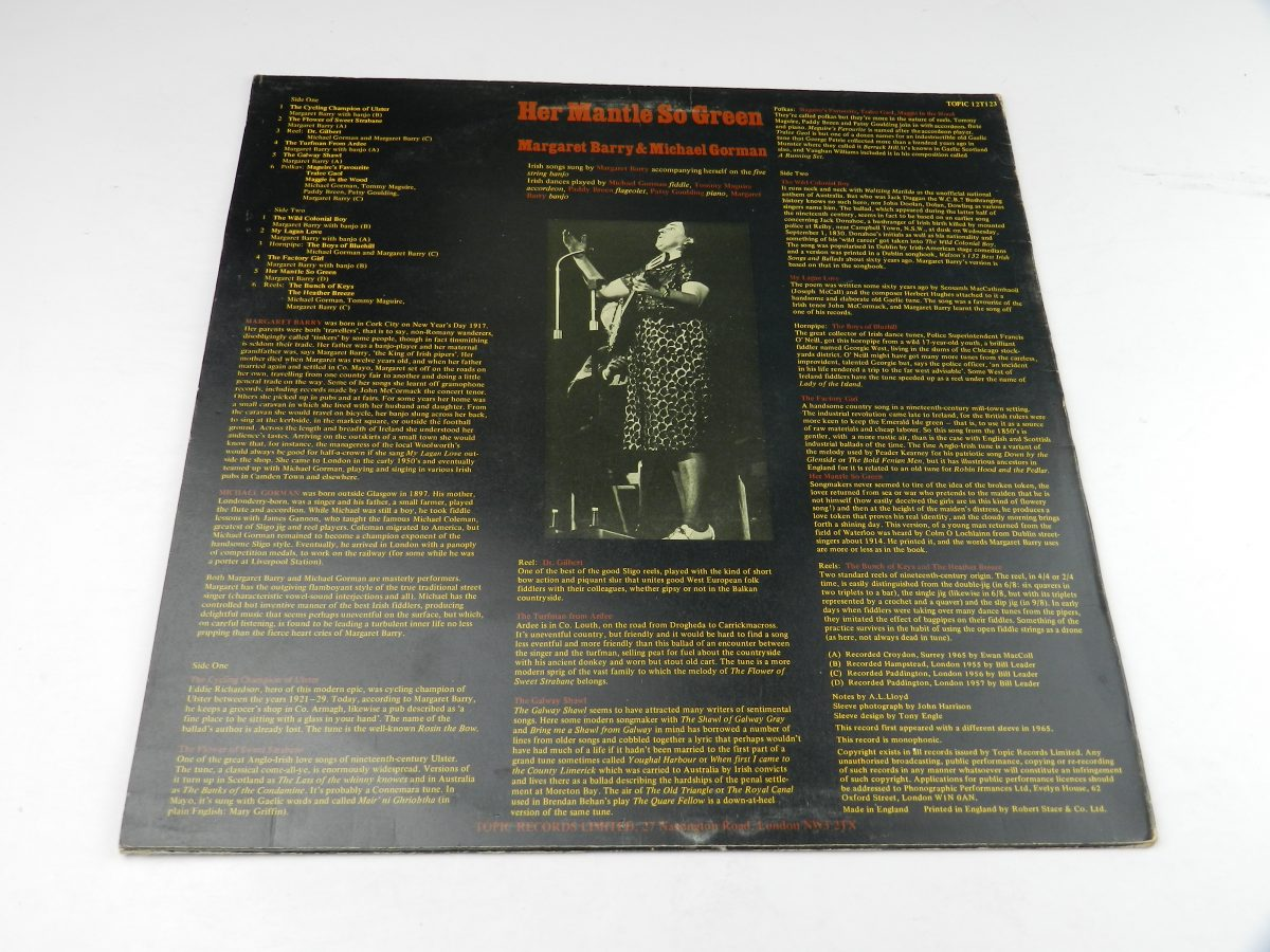 Margaret Barry Michael Gorman – Her Mantle So Green Irish Street Songs And Fiddle Tunes vinyl record sleeve rear scaled