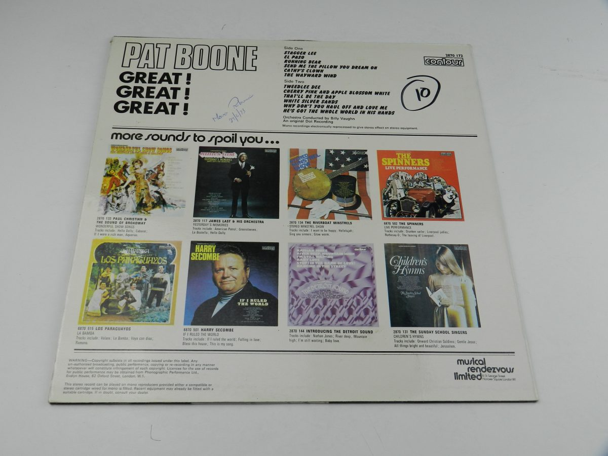Pat Boone – Great Great Great vinyl record sleeve rear scaled