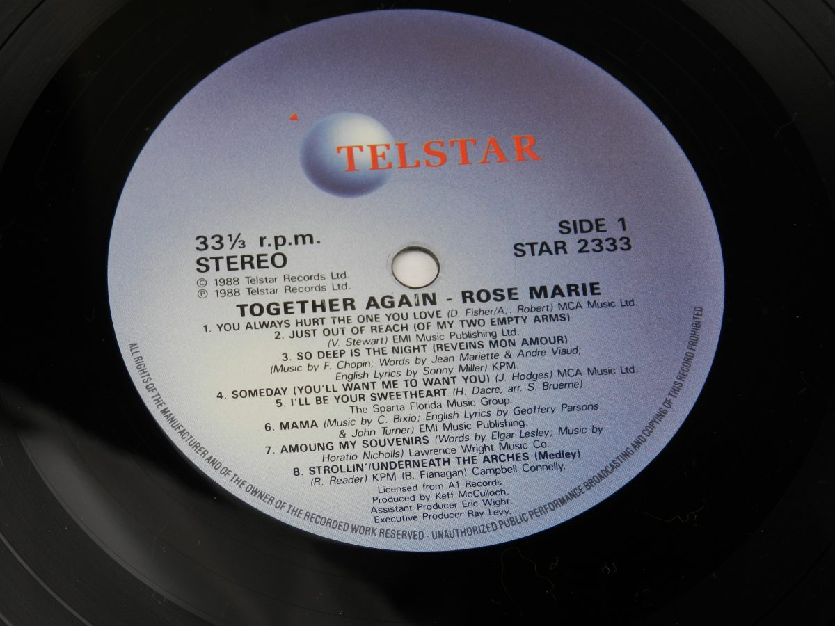 Rose • Marie – Together Again vinyl record side A label scaled