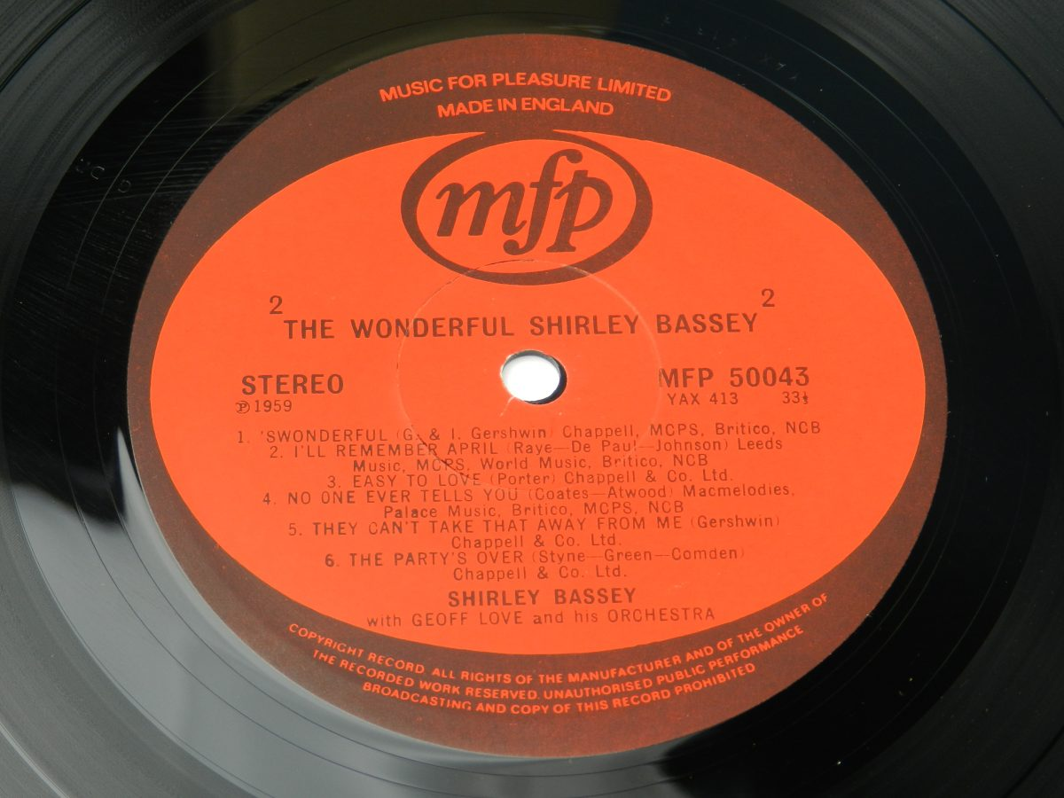 Shirley Bassey With Geoff Love His Orchestra – The Wonderful Shirley Bassey vinyl record side B label scaled