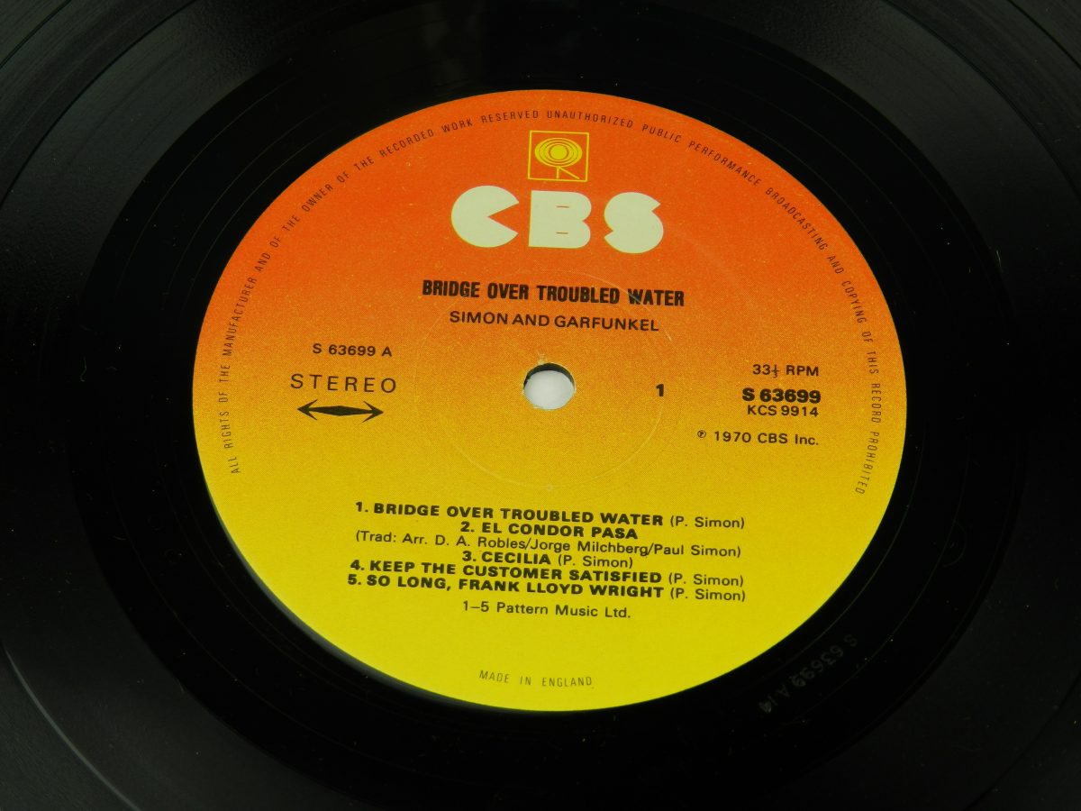 Simon And Garfunkel – Bridge Over Troubled Water vinyl record side A label scaled