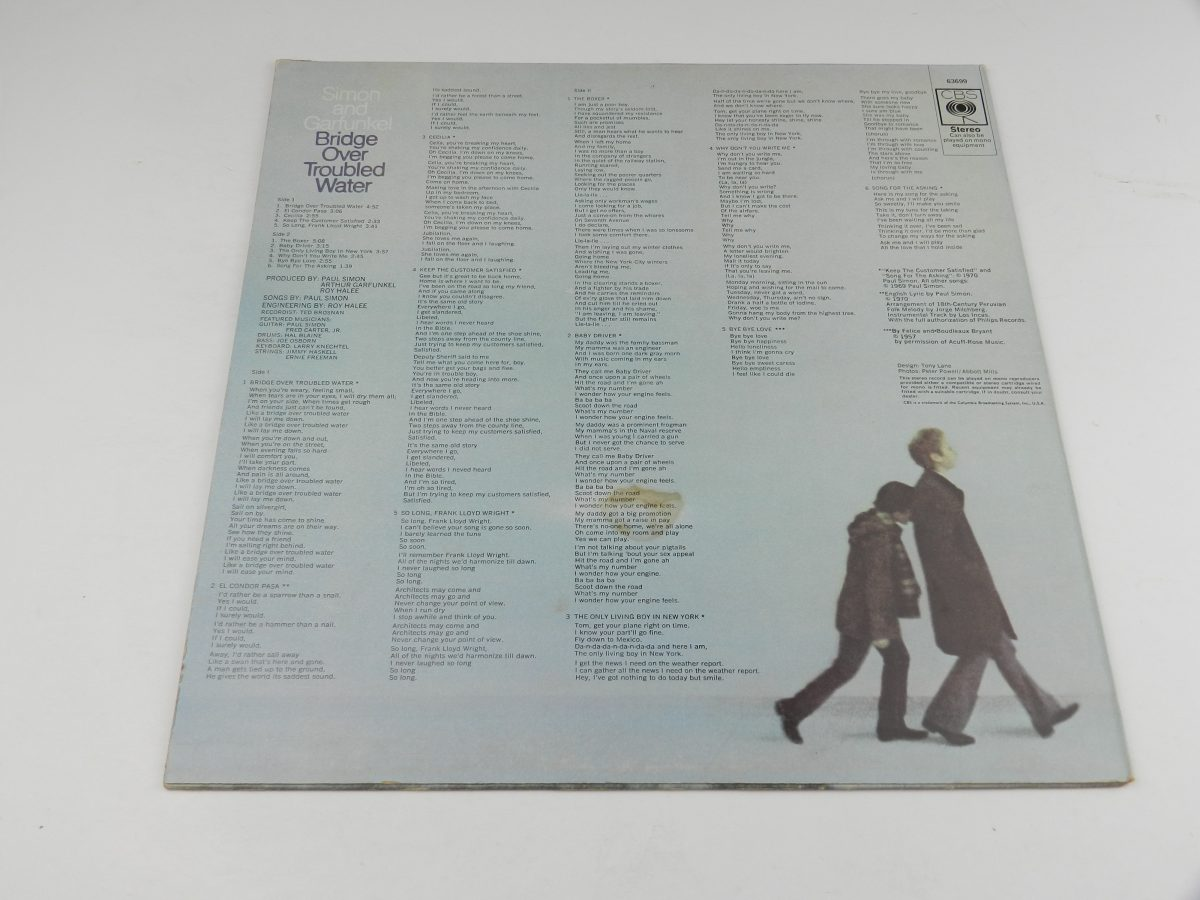Simon And Garfunkel – Bridge Over Troubled Water vinyl record sleeve rear scaled