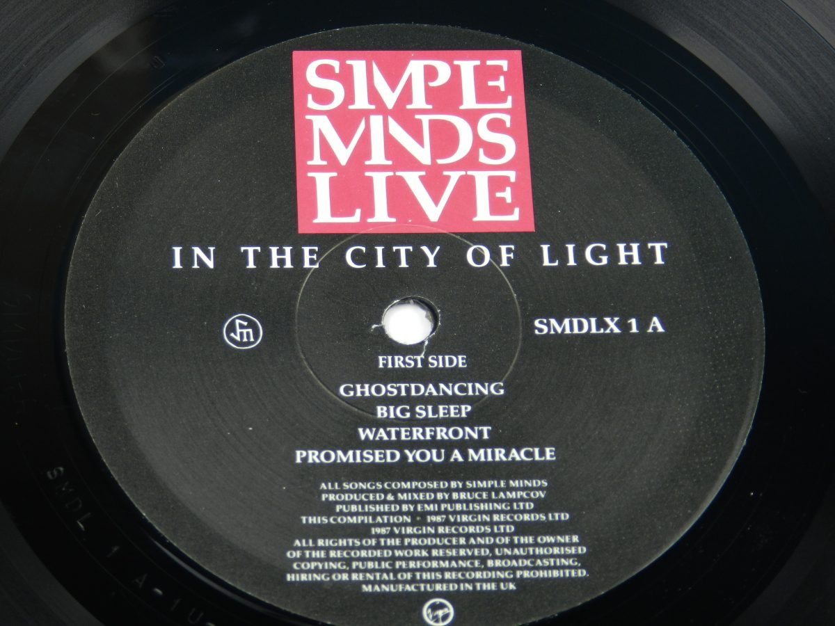 Simple Minds – Live In The City Of Light vinyl record 1 side A label scaled