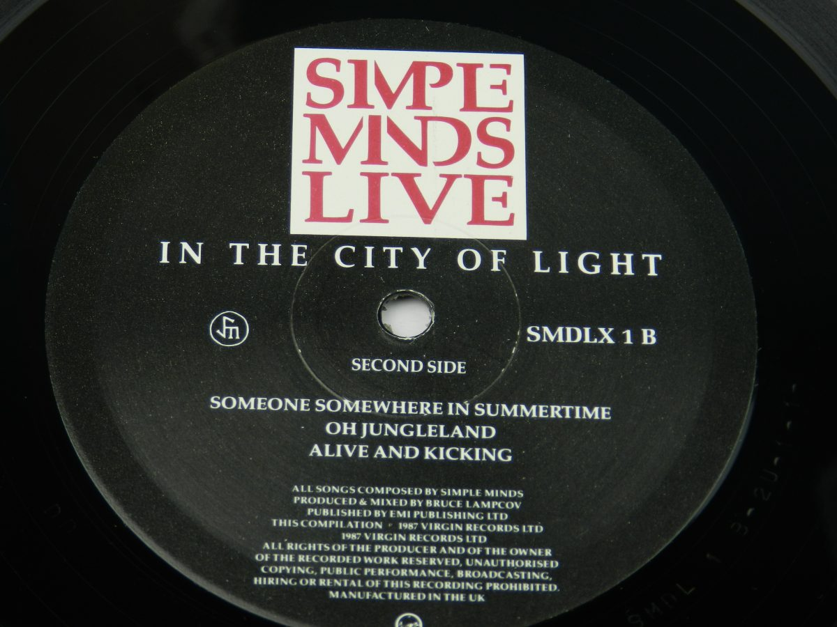 Simple Minds – Live In The City Of Light vinyl record 1 side B label scaled