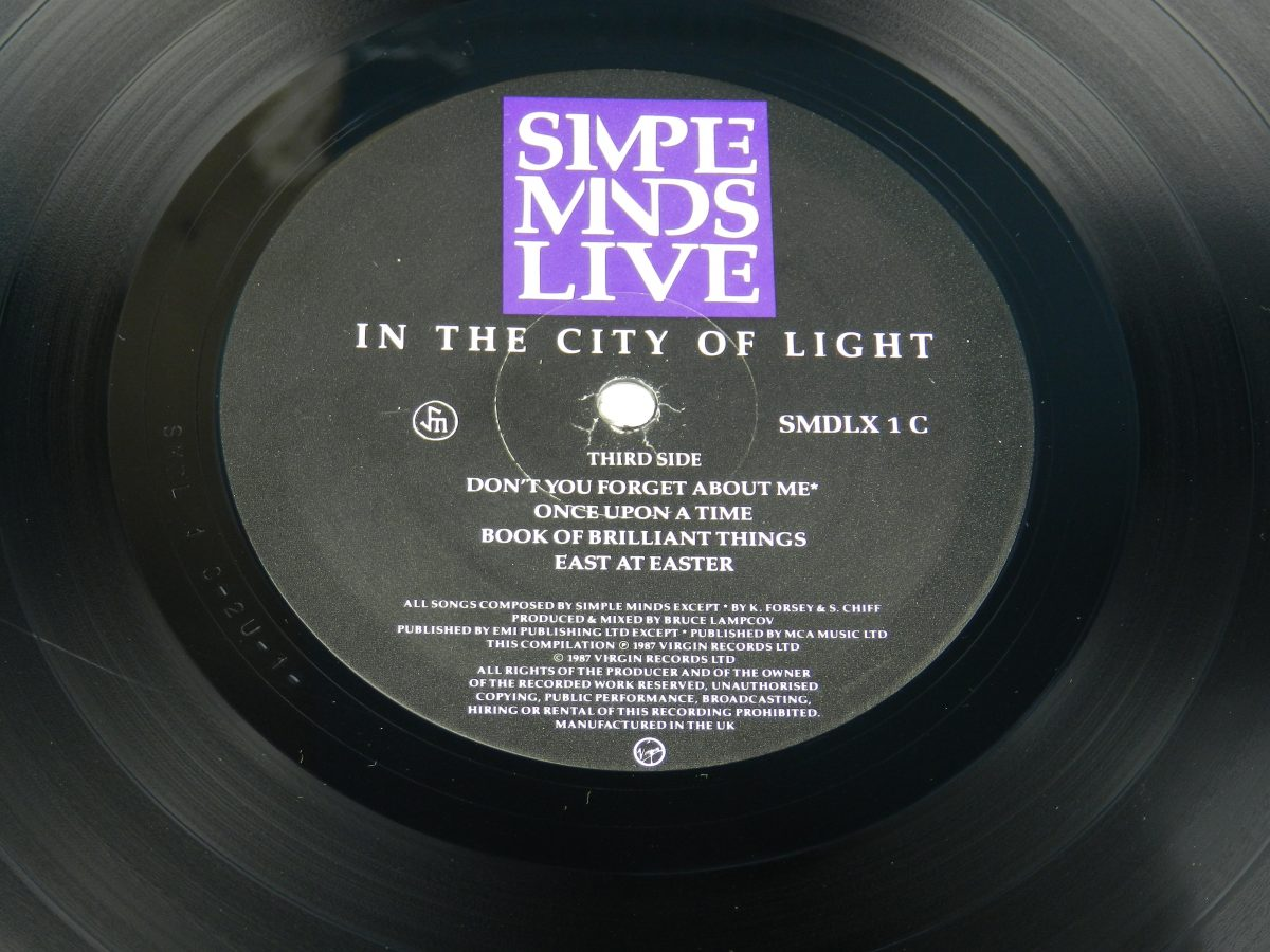 Simple Minds – Live In The City Of Light vinyl record 2 side A label scaled