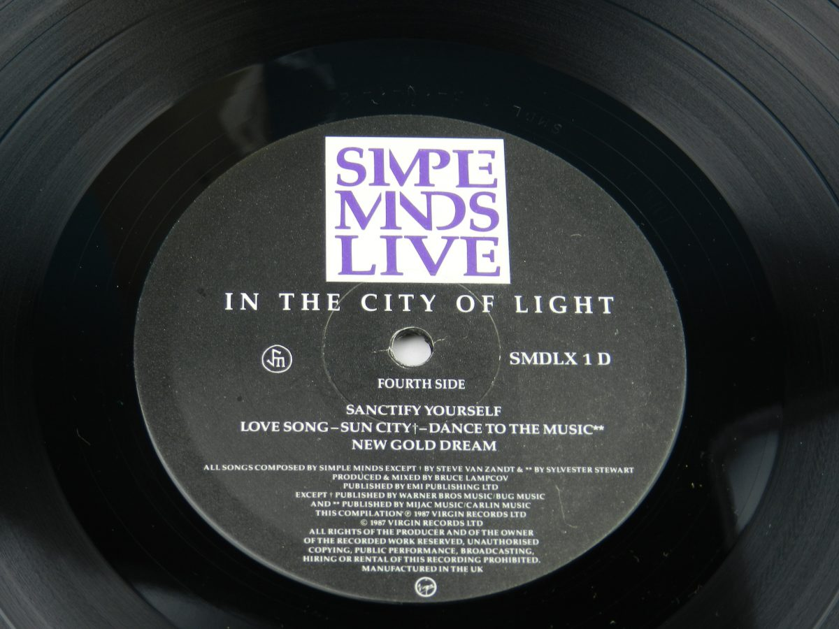 Simple Minds – Live In The City Of Light vinyl record 2 side B label scaled
