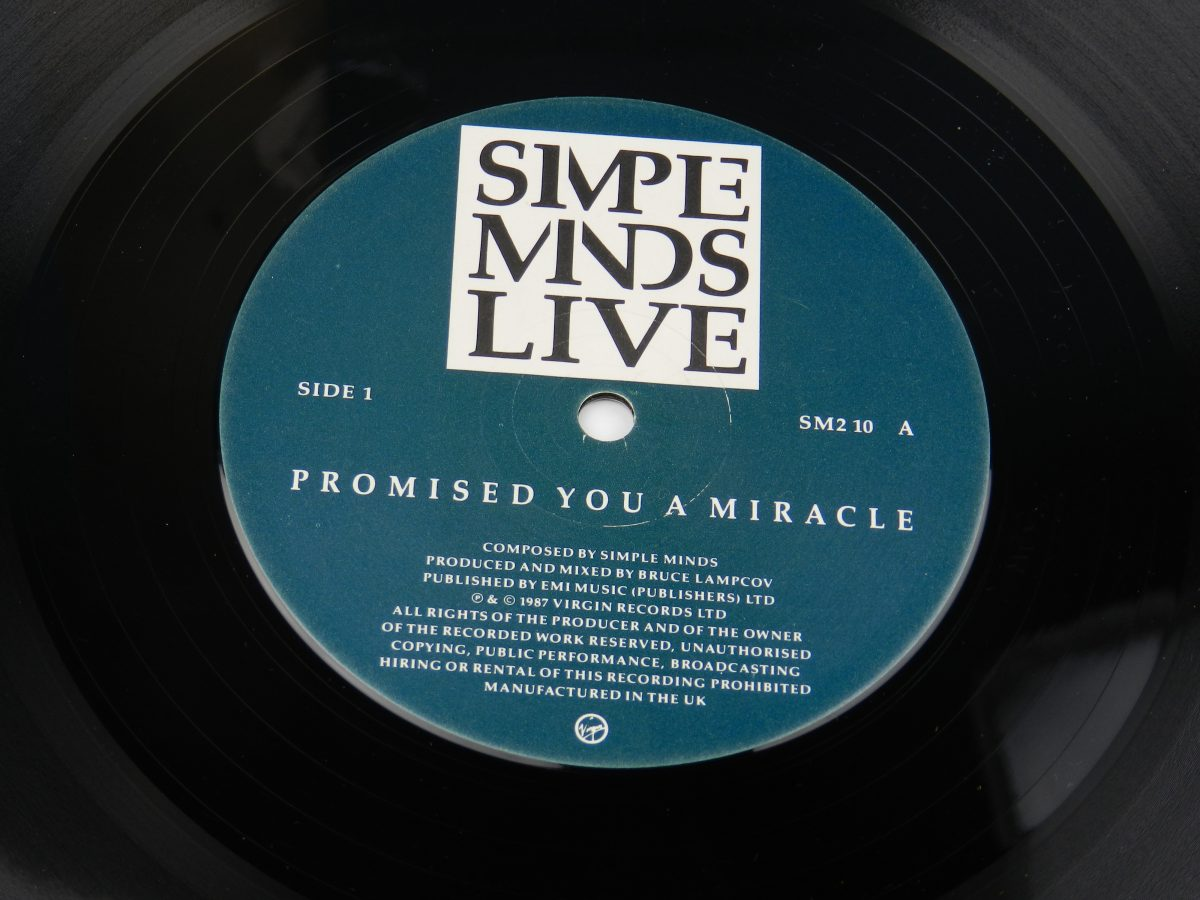 Simple Minds – Promised You A Miracle Book Of Brilliant Things Simple Minds Live vinyl record side A label scaled
