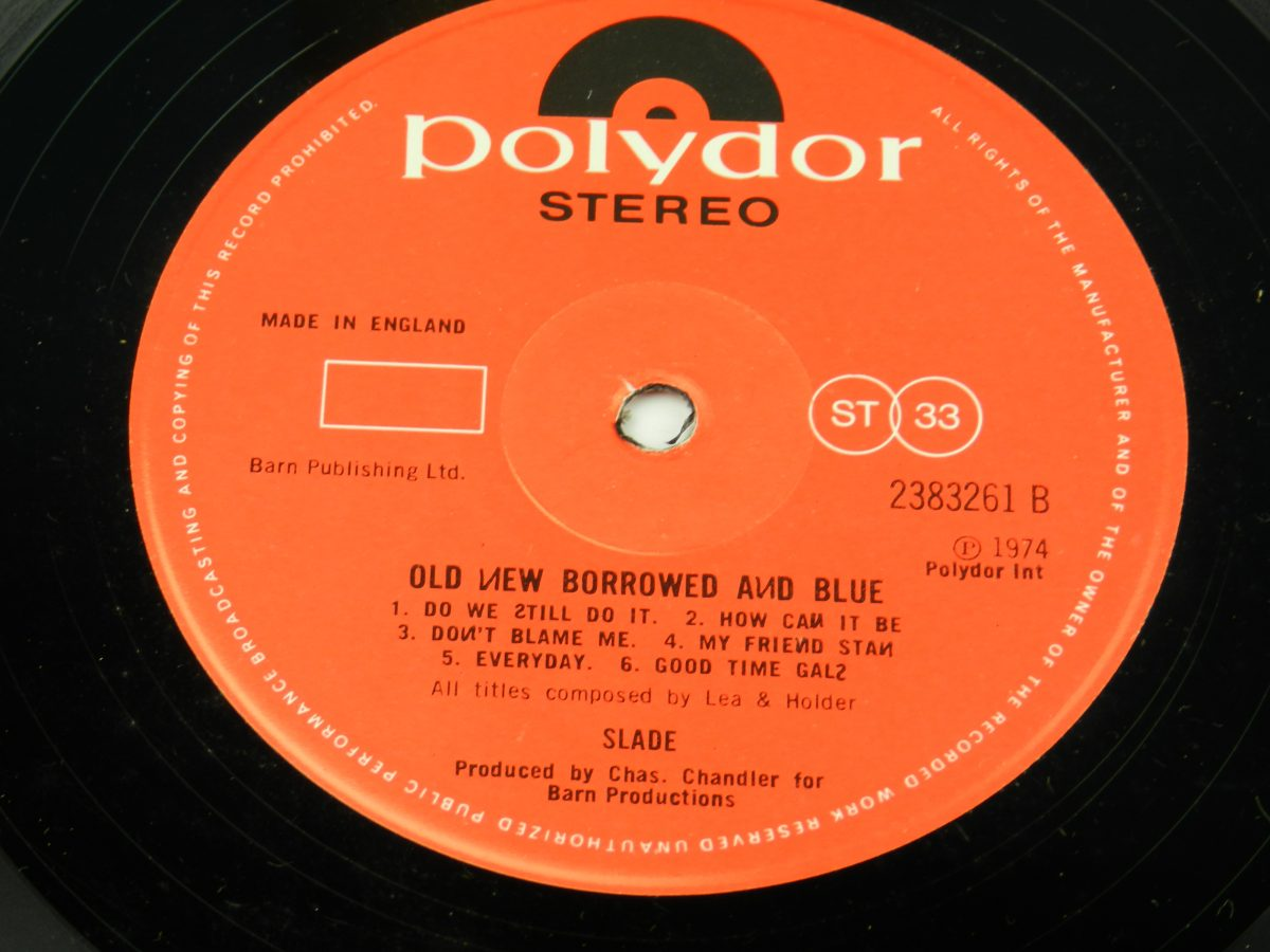 Slade – Old New Borrowed And Blue vinyl record side B label scaled