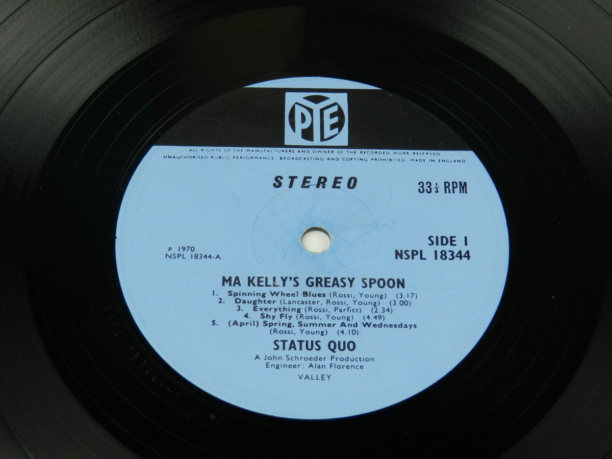 Status Quo – Ma Kellys Greasy Spoon vinyl record side A label scaled