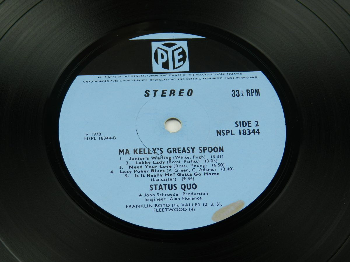 Status Quo – Ma Kellys Greasy Spoon vinyl record side B label scaled
