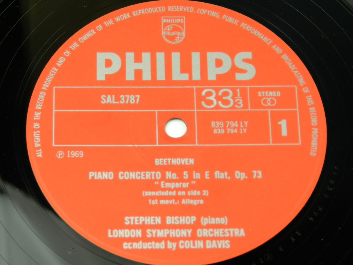 Stephen Bishop Colin Davis London Symphony Orchestra – Beethoven Piano Concerto No. 5 In E Flat Op. 73 Emperor vinyl record side A label scaled