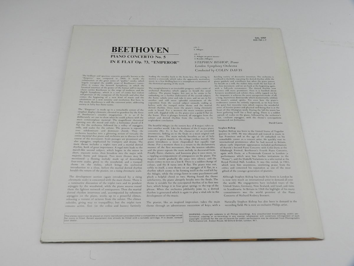 Stephen Bishop Colin Davis London Symphony Orchestra – Beethoven Piano Concerto No. 5 In E Flat Op. 73 Emperor vinyl record sleeve rear scaled