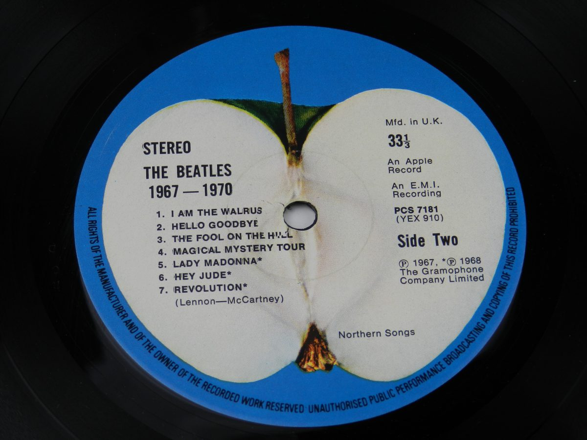 The Beatles – 1967 1970 vinyl record 1 side B label scaled