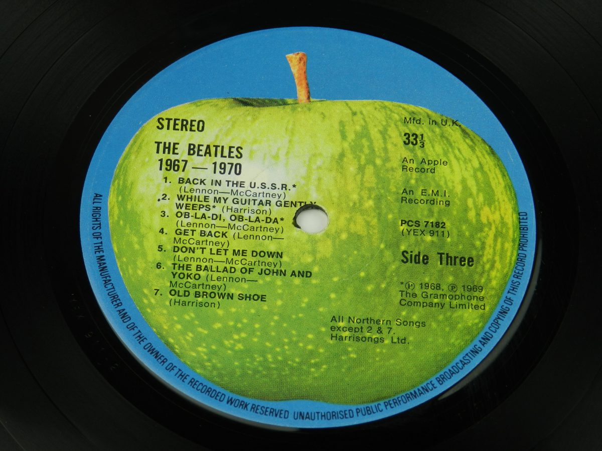 The Beatles – 1967 1970 vinyl record 2 side A label scaled