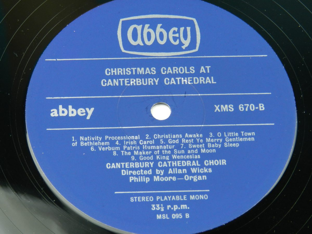 The Cathedral Choir – Christmas Carols At Canterbury Cathedra vinyl record side B label scaled