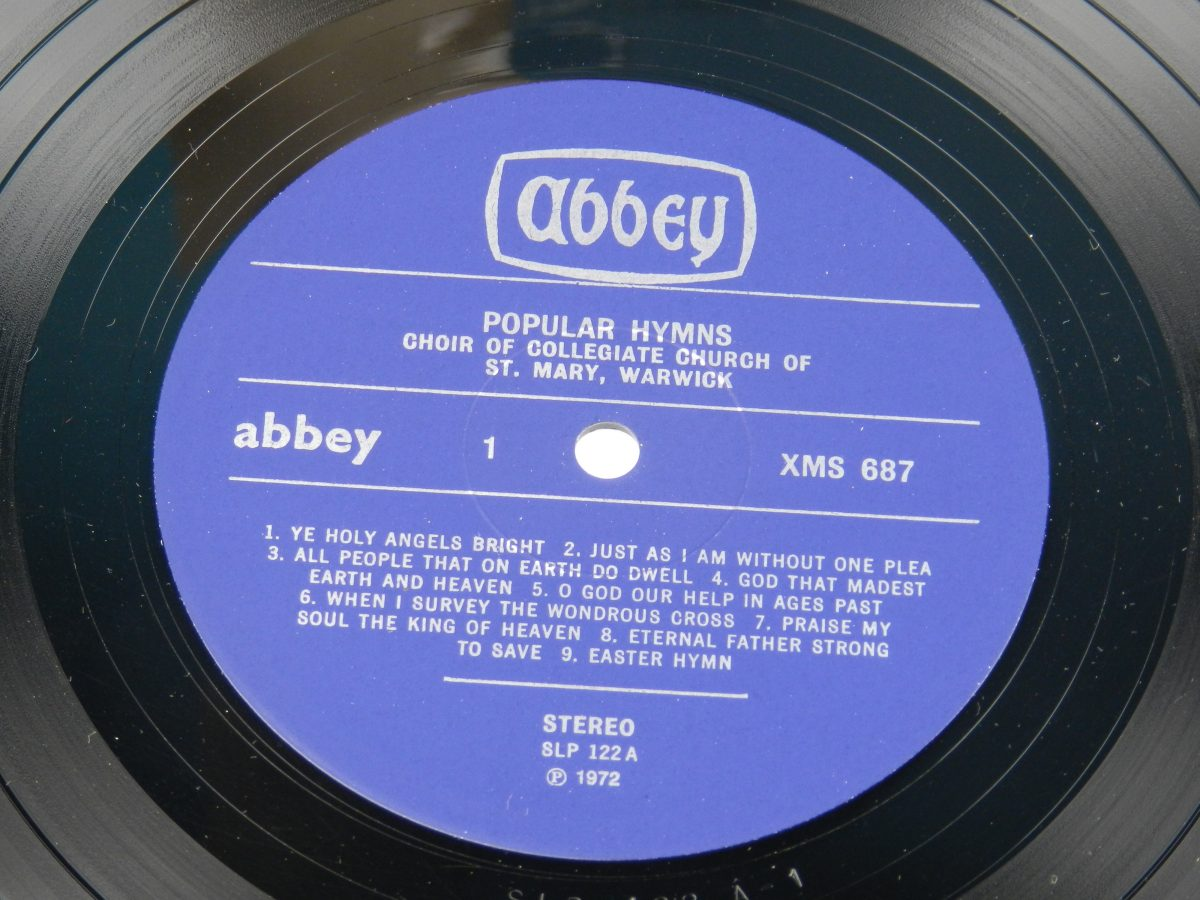 The Choir Of The Collegiate Church Of St Mary Warwick – 18 Popular Hymns vinyl record side A label scaled