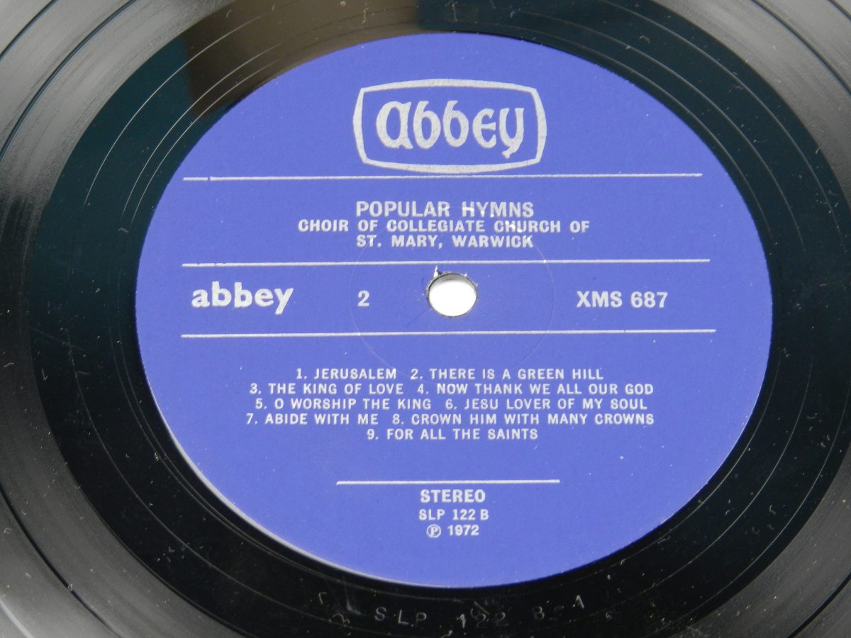 The Choir Of The Collegiate Church Of St Mary Warwick – 18 Popular Hymns vinyl record side B label scaled