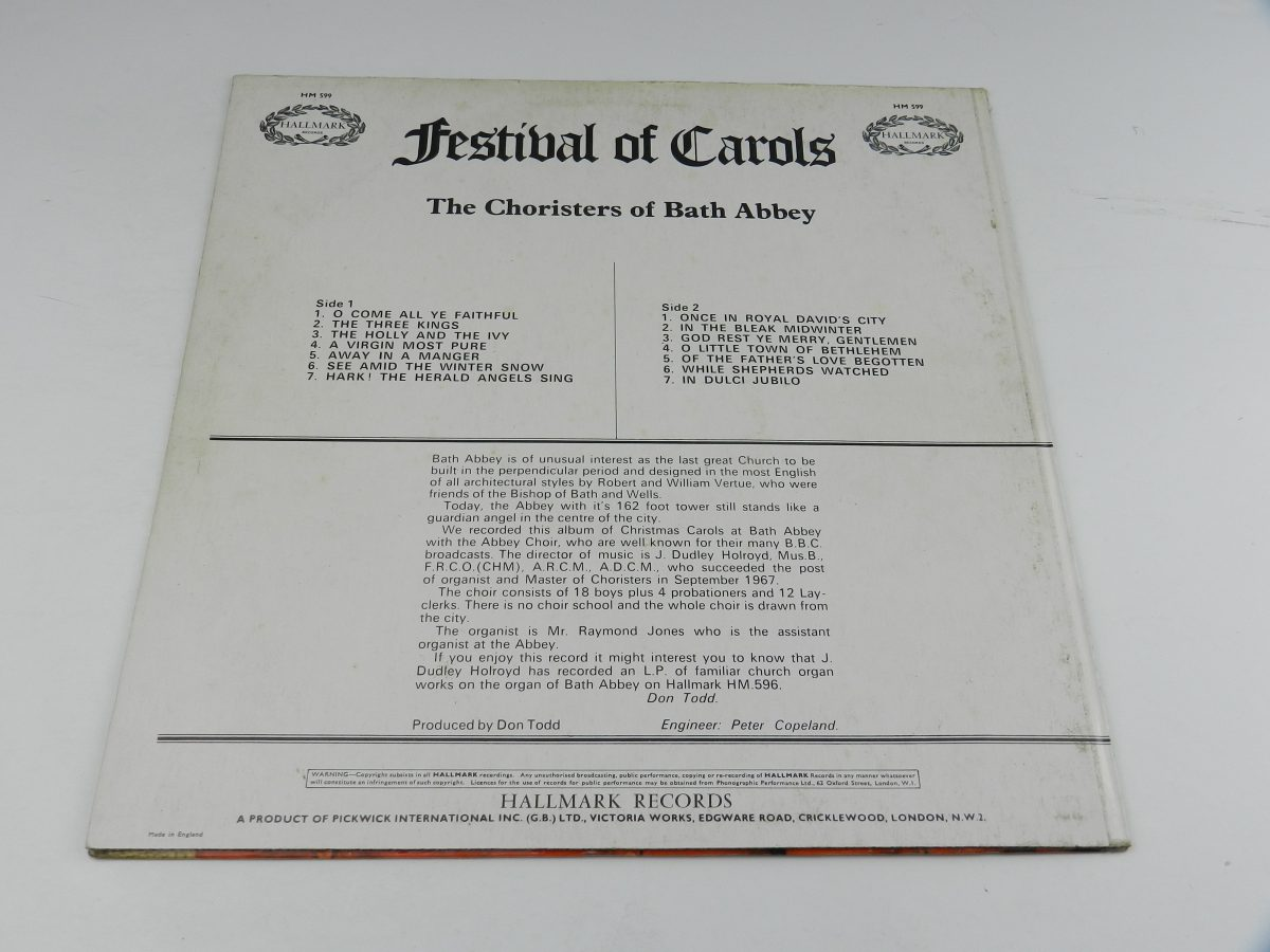 The Choristers Of Bath Abbey Master of the Choristers J. Dudley Holroyd – Festival Of Carols vinyl record sleeve rear scaled
