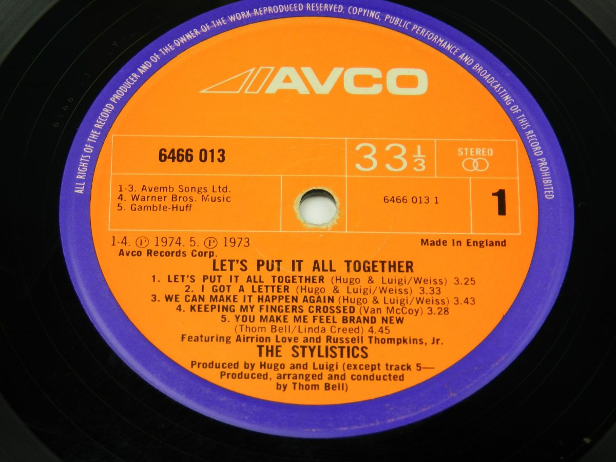The Stylistics – Lets Put It All Together vinyl record side A label scaled