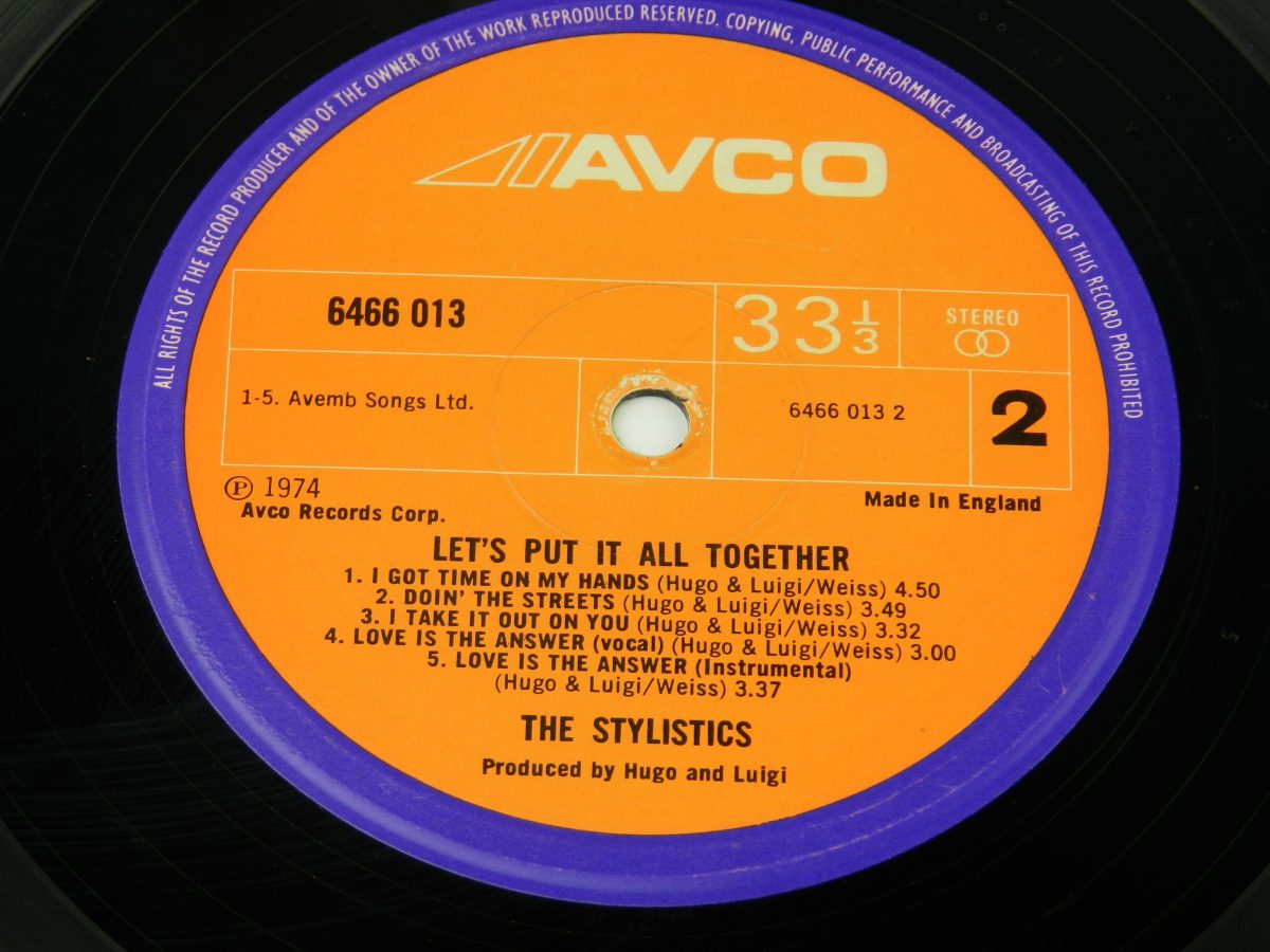 The Stylistics – Lets Put It All Together vinyl record side B label scaled