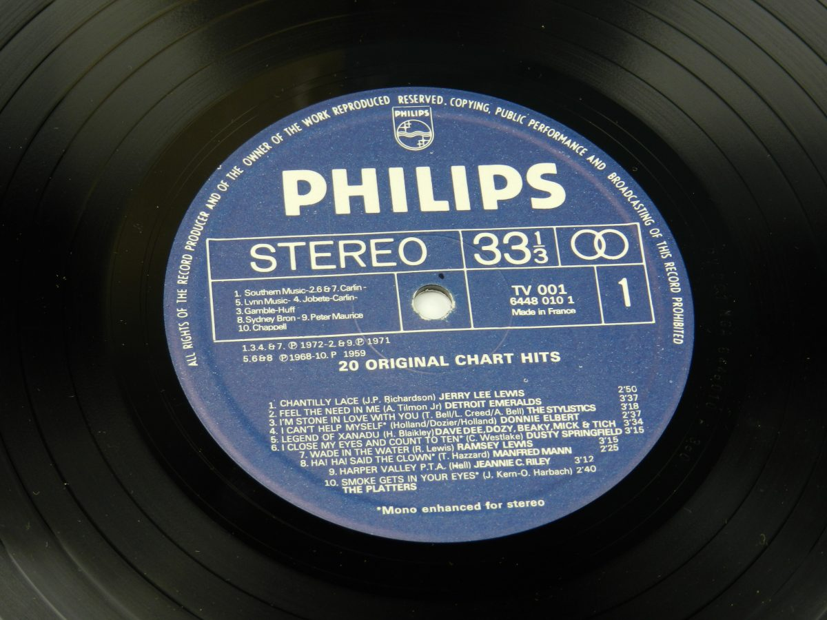 Various – 20 Original Chart Hits vinyl record side A label scaled