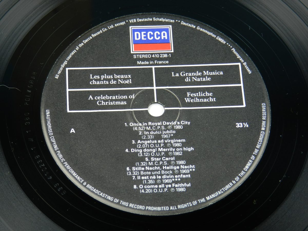 Various – A Celebration Of Christmas vinyl record side A label scaled