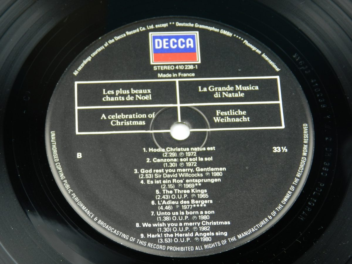 Various – A Celebration Of Christmas vinyl record side B label scaled