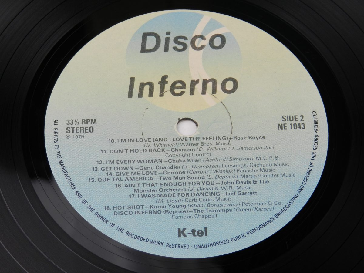 Various – Disco Inferno vinyl record side B label scaled