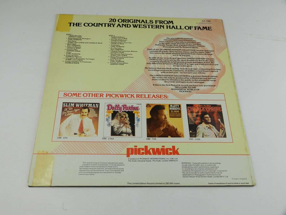 Various – 20 Originals From The Country And Western Hall Of Fame vinyl record sleeve rear scaled