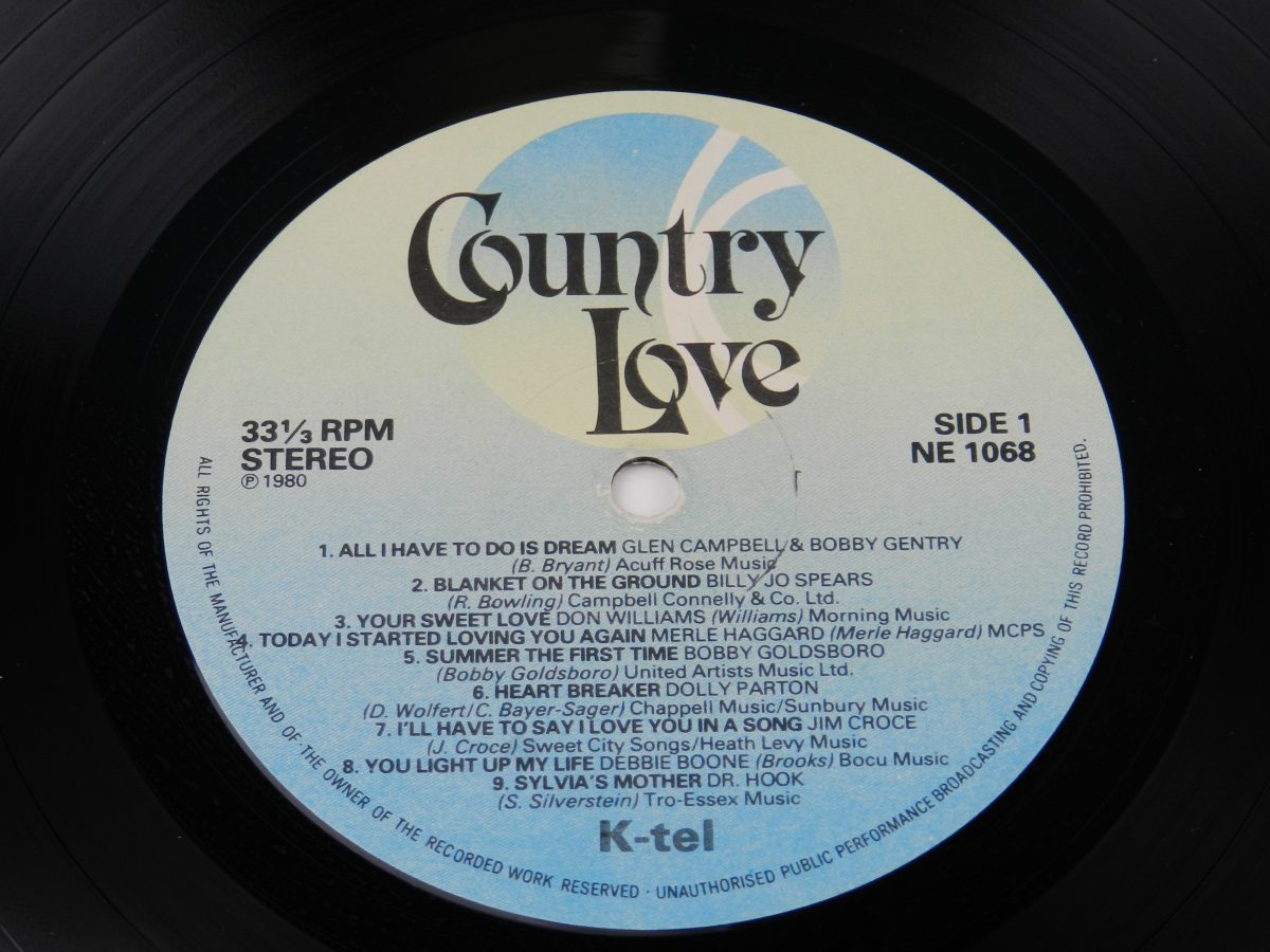 Various – Country Love vinyl record side A label scaled