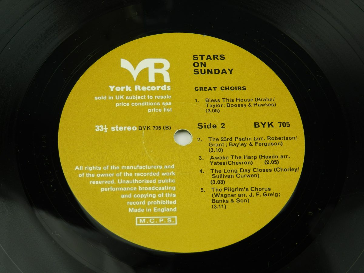 Various – Stars On Sunday vinyl record side B label scaled